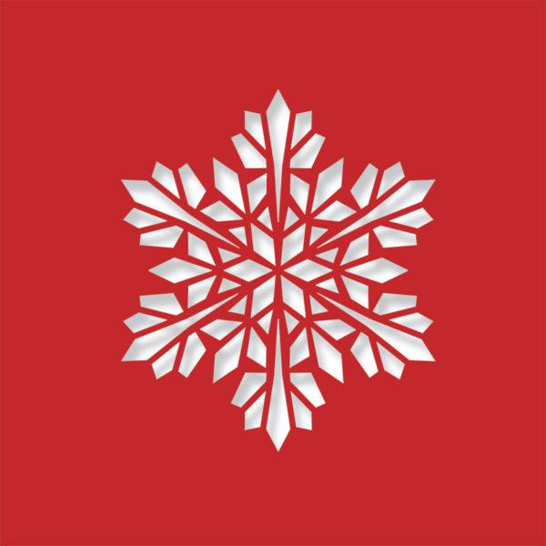 modern snowflake bright red