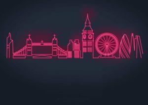 neon city skyline